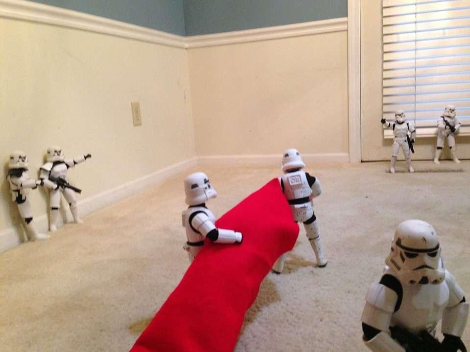 Stormtroopers choisissent le terrain pour assembler un sapin