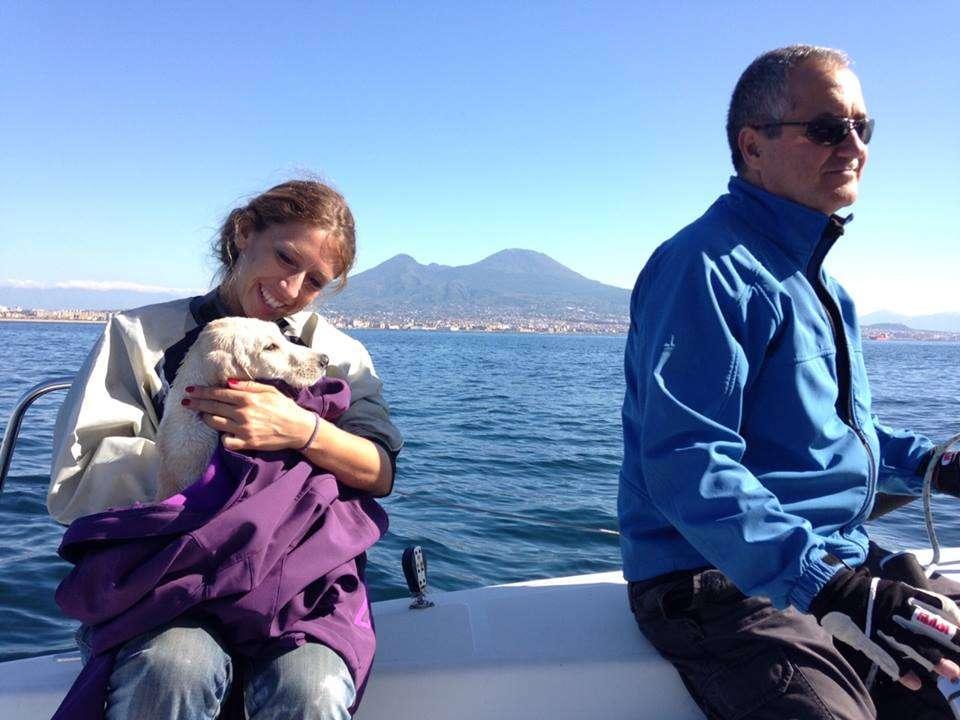 chiot secouru en pleine mer près de Naples