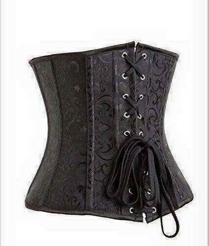 Corsetto Underbust stringivita bustino con stecche nero liscio classico