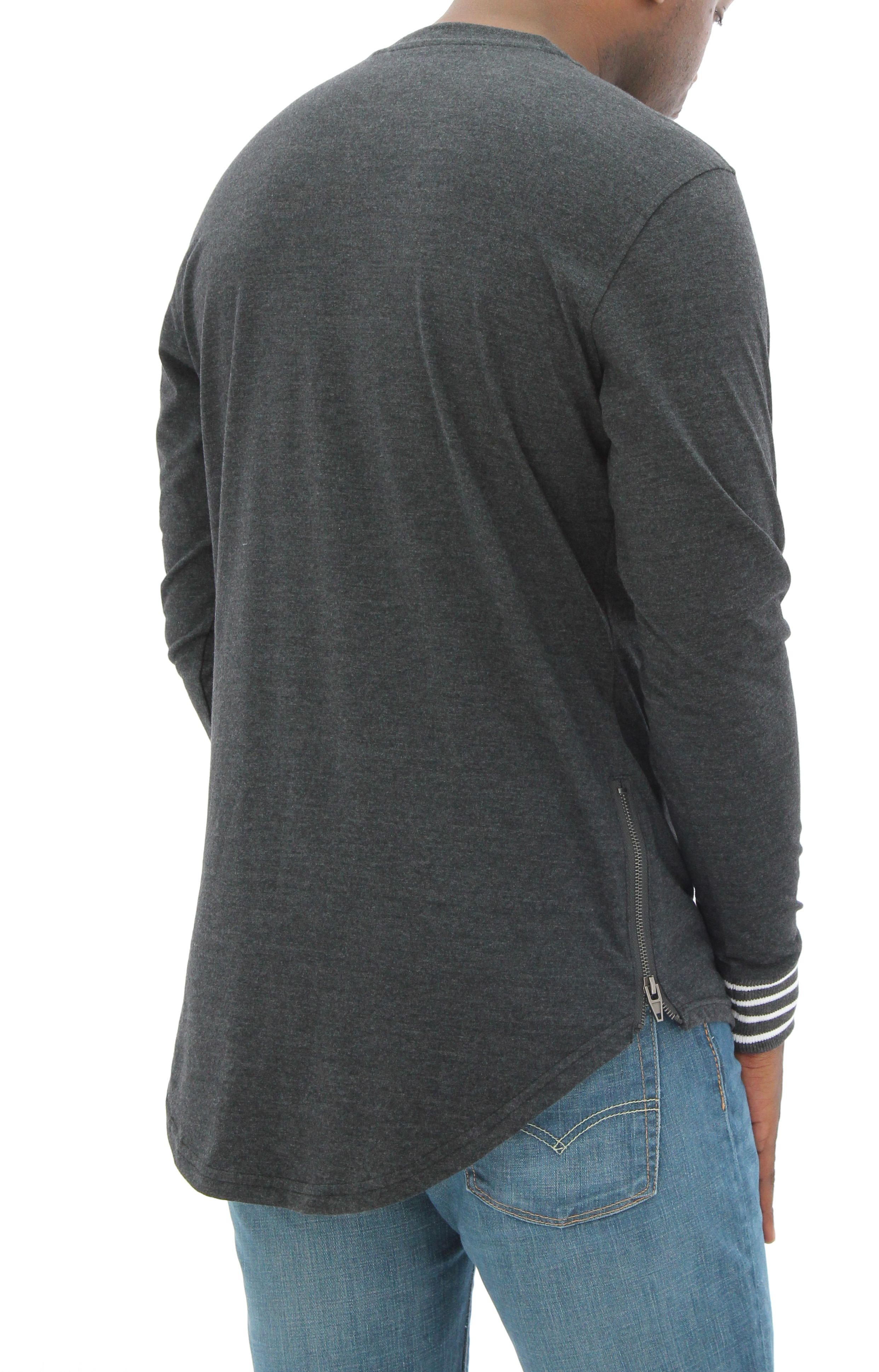 0044c32b8 Details about Smoke Rise Men's Scalloped Longline Side Zippers Long Sleeve  T Shirt