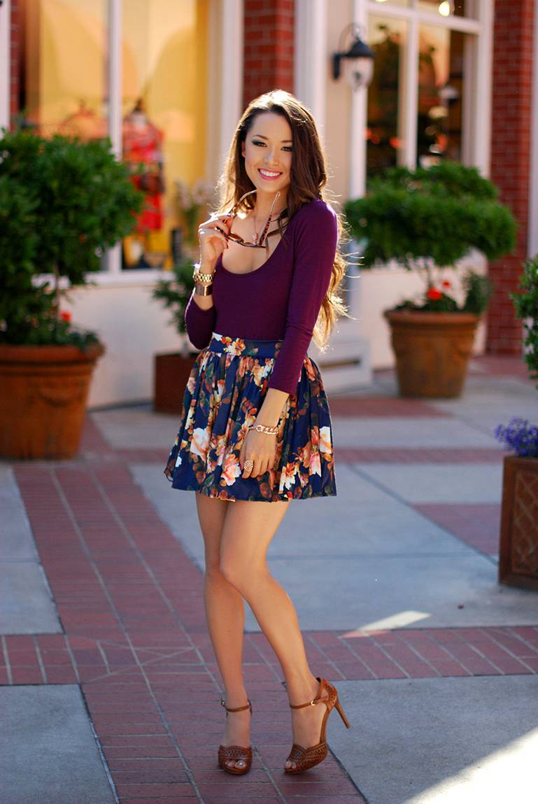floral skater skirt outfit