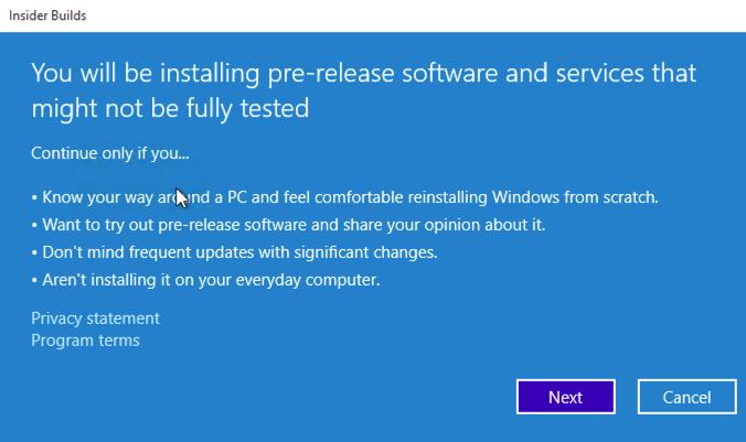 Windows Update Insider Build Warnung