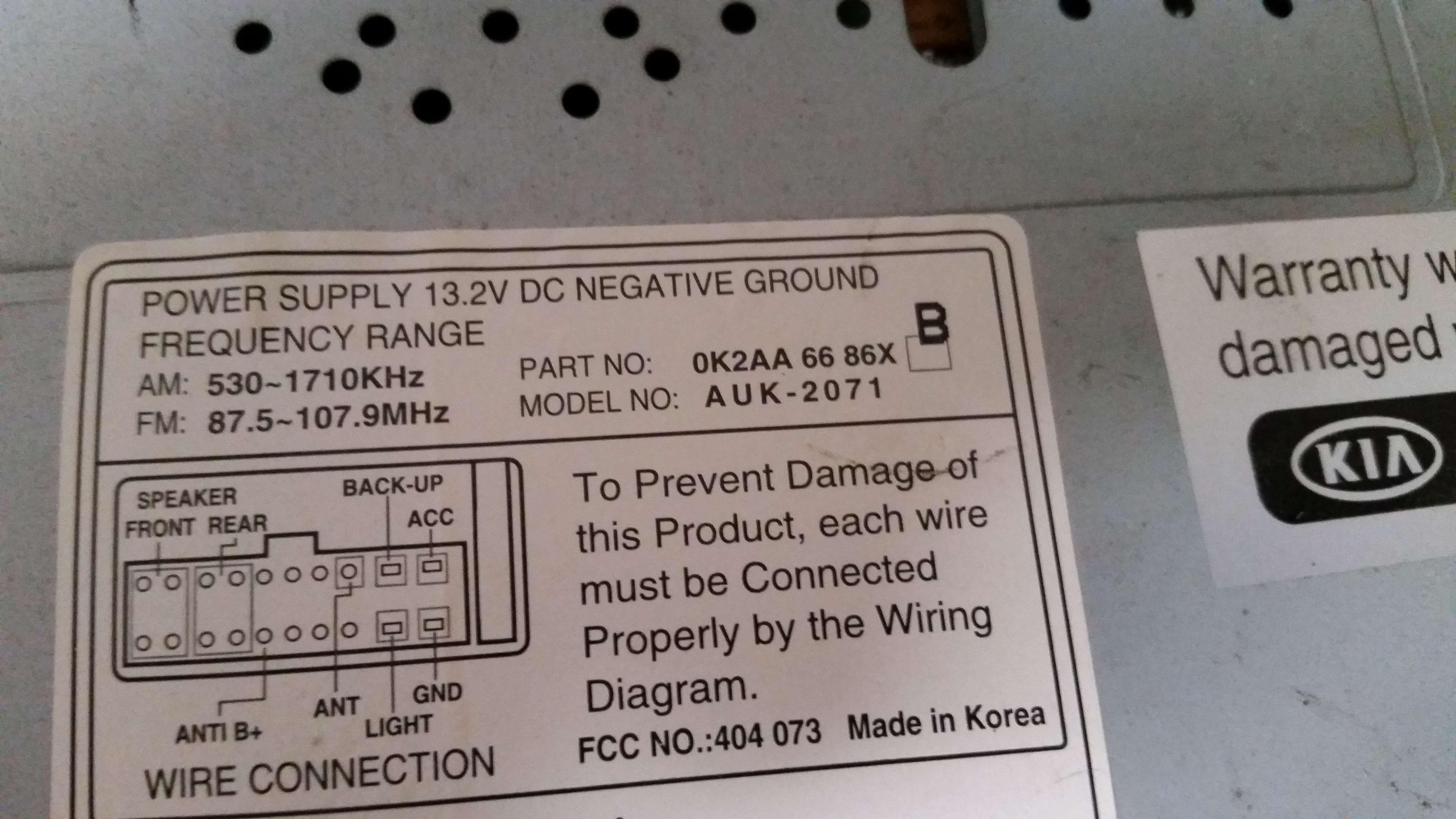 98 99 00 01 02 Kia Sephia Spectra Cette Radio 0K2AA 66 86X AUK ... Kia Radio Receiver Wiring Diagram on kia optima radio harness diagram, kia electrical wiring diagram, kia sorento wiring-diagram, kia spectra wiring diagram, kia sedona wiring-diagram, 2007 kia sportage transmission wiring diagram, 2007 kia sportage stereo wiring diagram, 2005 kia optima wiring diagram, kia optima wiring harnesses, kia soul stereo system wiring, kia rio wiring diagram,