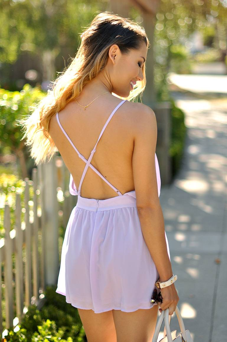 purple romper_summer outfit_lavender_open back_playsuit