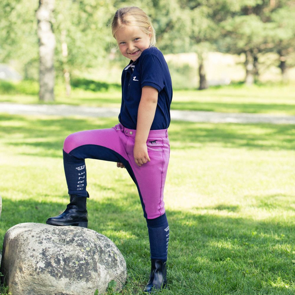 Horze-Jen-Jr-Children-039-s-Narrow-Fit-Fullseat-Riding-Breeches-with-Medium-Waist miniature 7