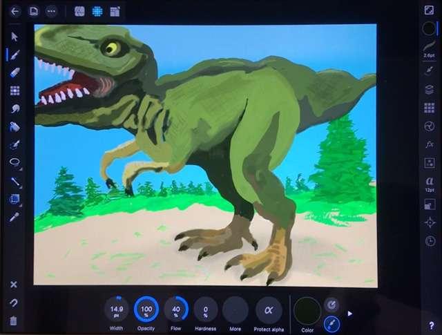 T. rex drawn on iPad