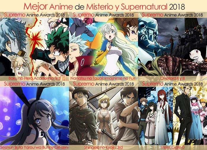 Final X Categorias Nominados a Mejor Anime de Misterio y Supernatural 2018