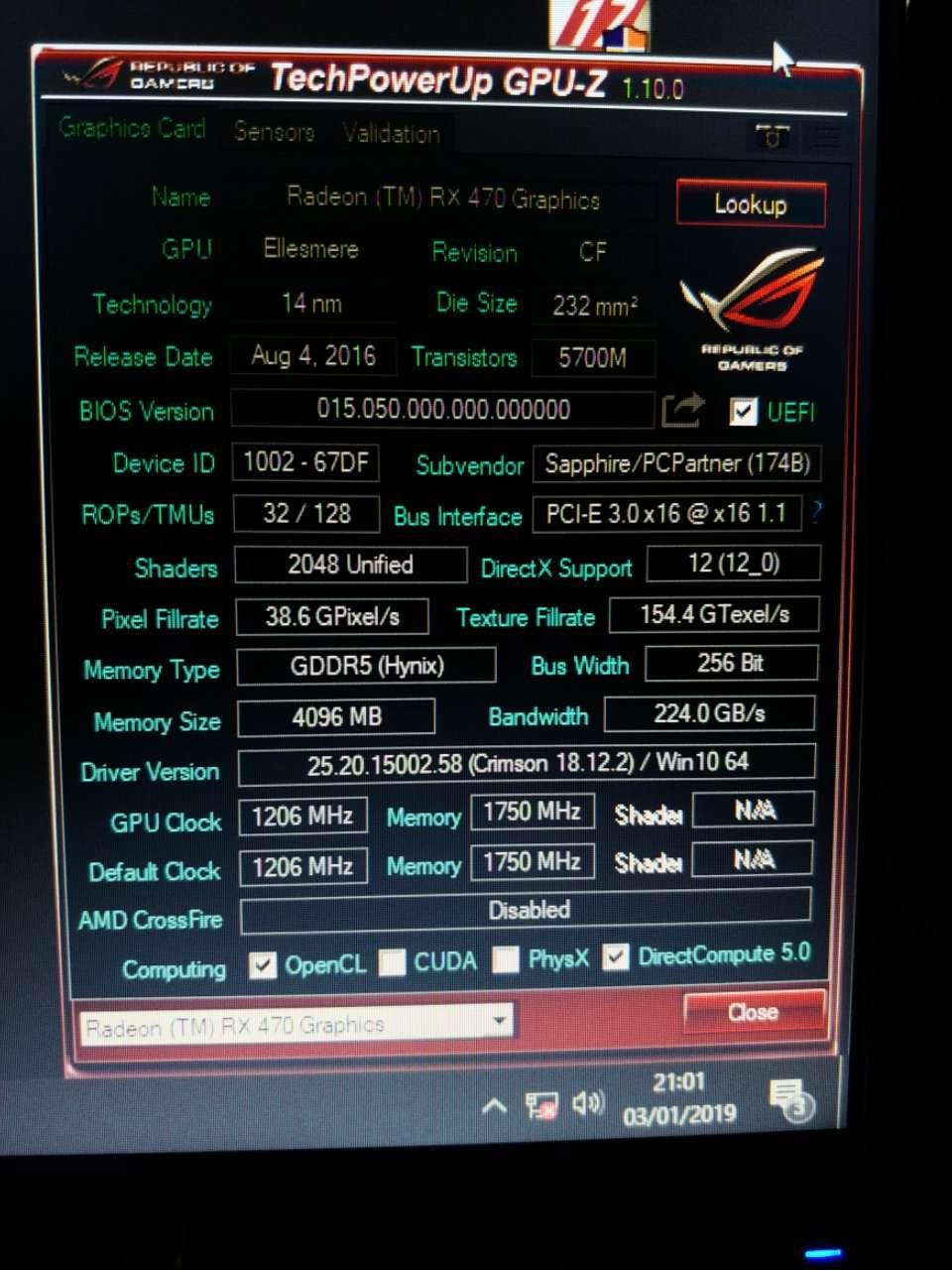 GPUZ For the RX470 Sapphire Nitro+ VGA 4gb | Tom's Hardware Forum