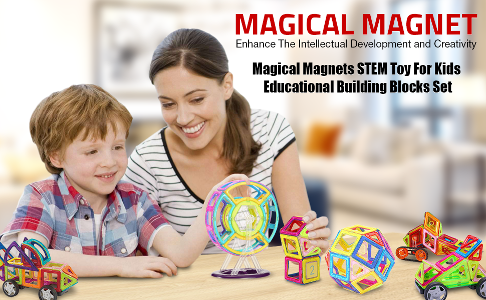 Magical Magnets STEM Toy For Kids Stacking 98 PC Educational Building Blocks Set