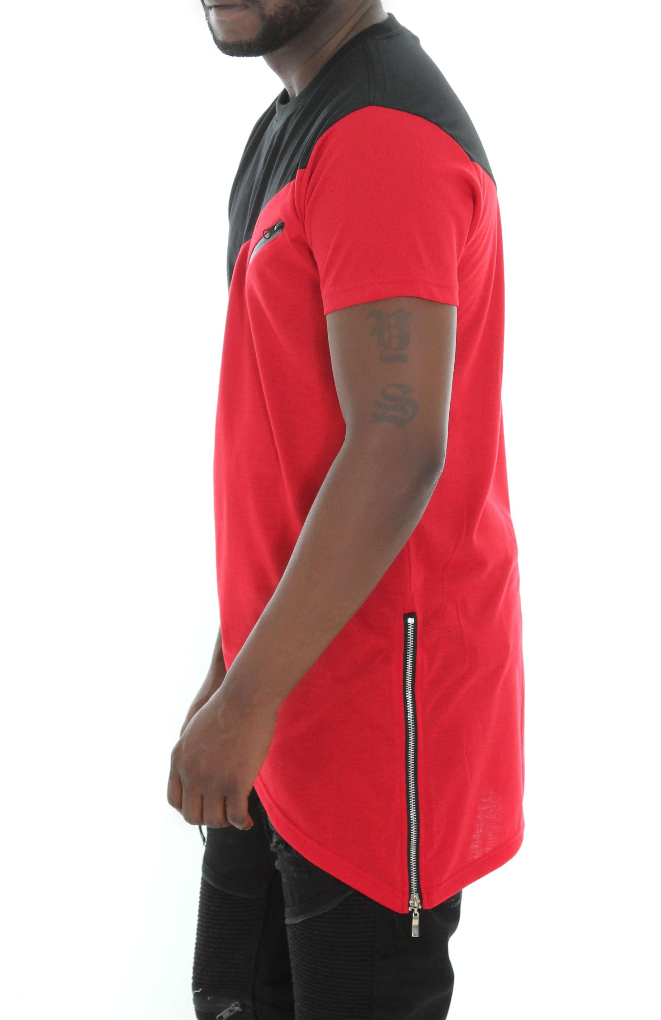Imperious-Men-039-s-Colorblock-Asymmetric-Hem-Side-Zipper-Longline-T-Shirt thumbnail 11