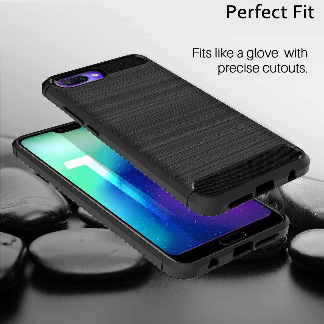 Coque-Etui-Housse-Silicone-brossee-Fibre-de-carbone-Noir-Protection-Huawei miniature 20
