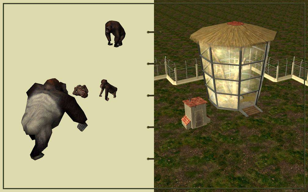 Image 06, RCT3 FAQ, Volitionist's RCT3 Animal Care Guide, Page 2: Gorillas And Ape House With Electric Fence