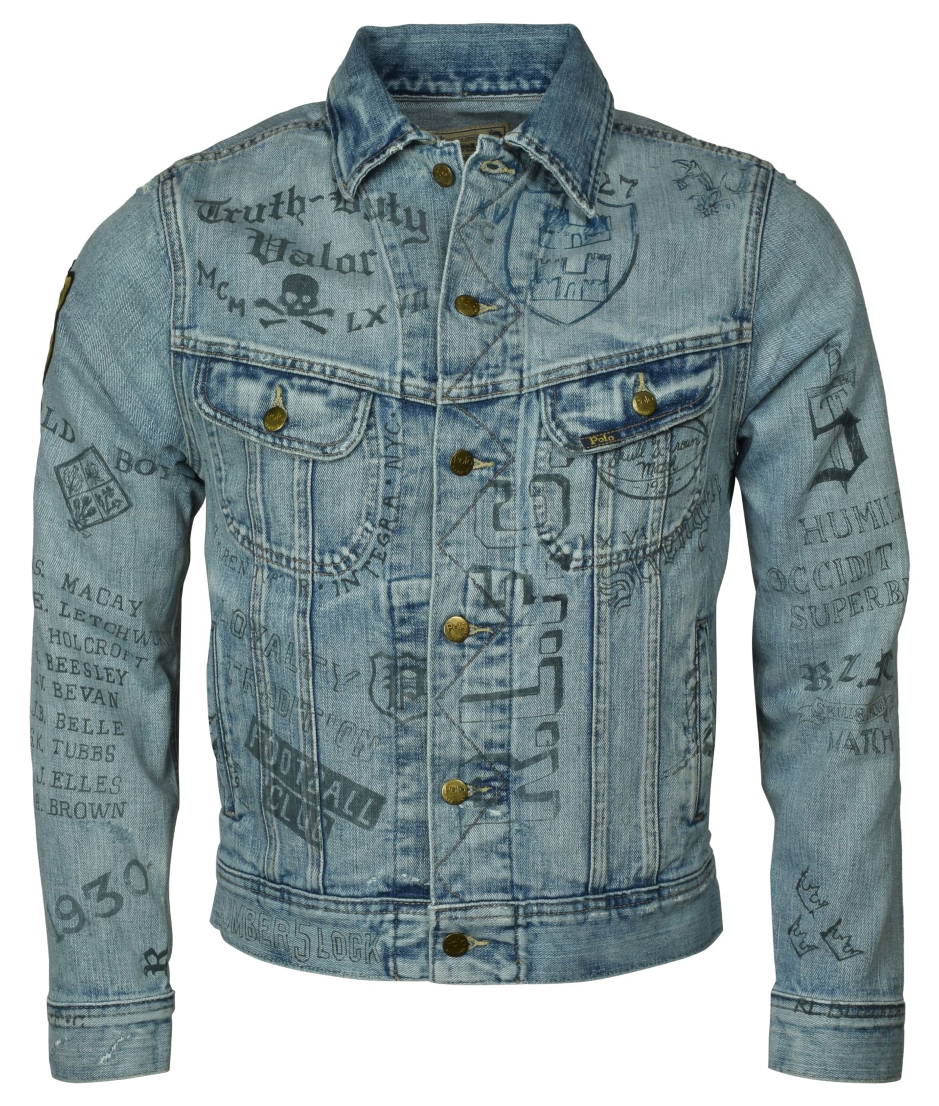 Jacket Inspired Polo Distressed Printed Details About Trucker Graphic Ralph Lauren College gb7Yf6yv