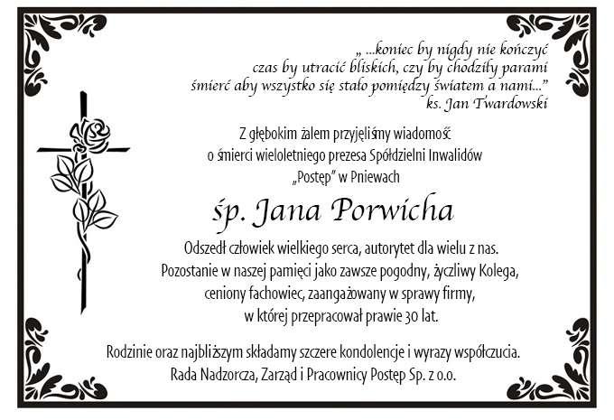 Żyli wśród nas – Jan Porwich