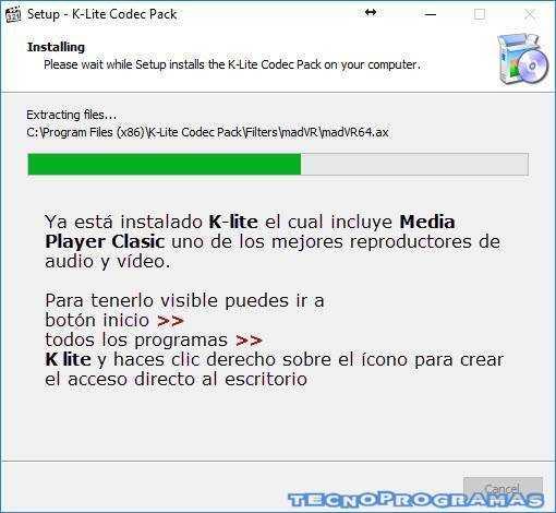 K-lite Codec Pack Instalación - Media Player Clasicc
