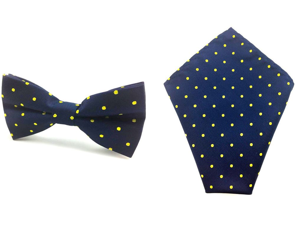 90c72416b7853 Details about Men's Navy Blue Yellow Polka Dot Bowtie & Pocket Square Doted  Ties Hanky Combo