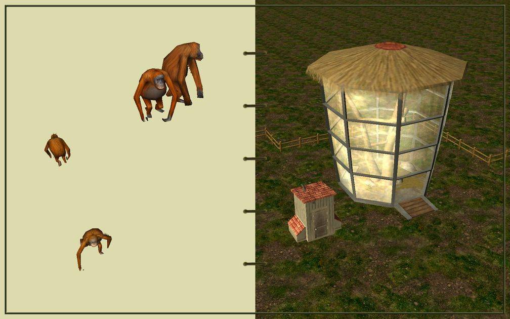 Image 14, RCT3 FAQ, Volitionist's RCT3 Animal Care Guide, Page 3: Orangutan And Ape House With Wooden Fence