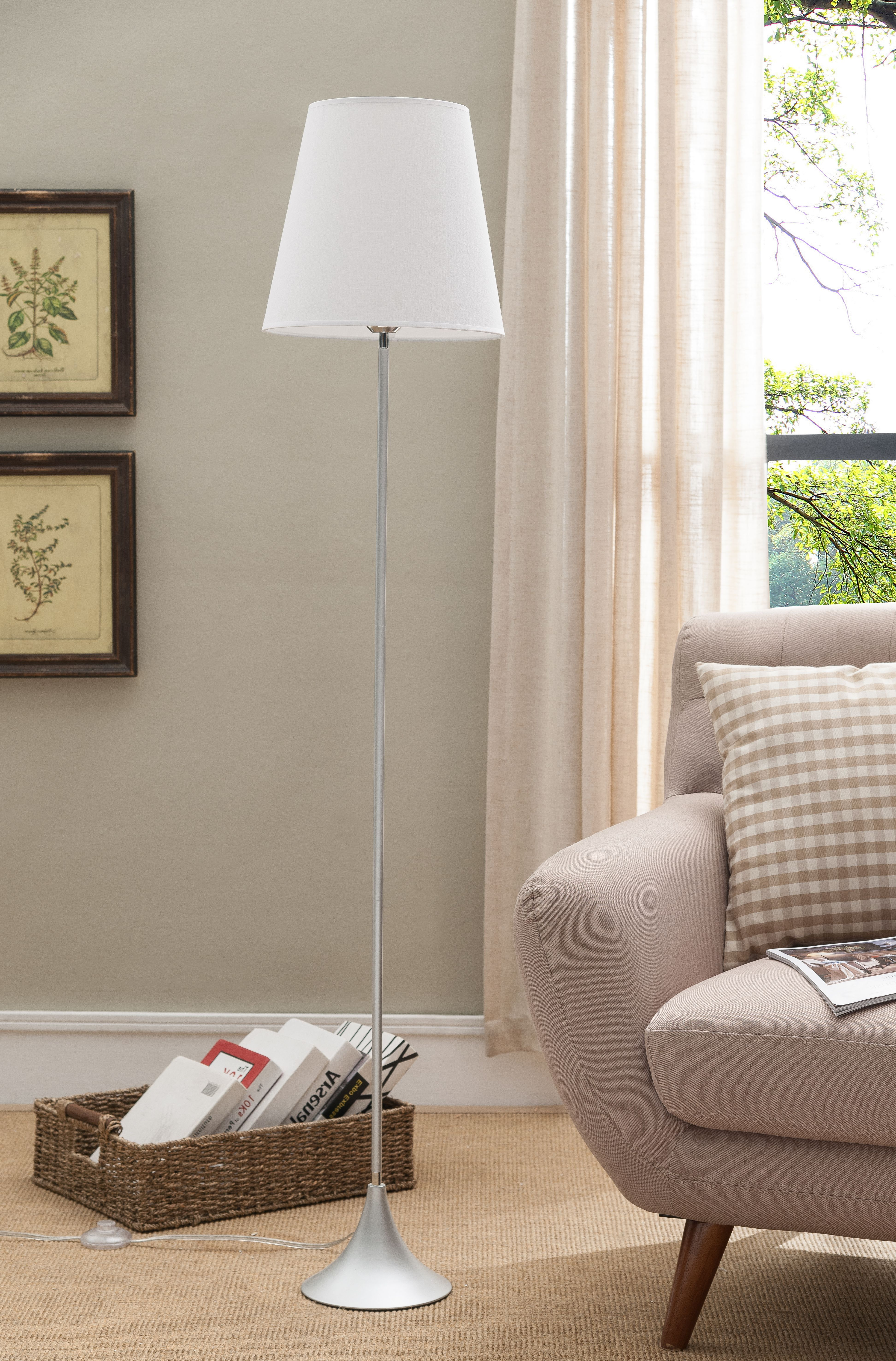 Image Is Loading Silver With White Fabric Shade Contemporary Floor Standing