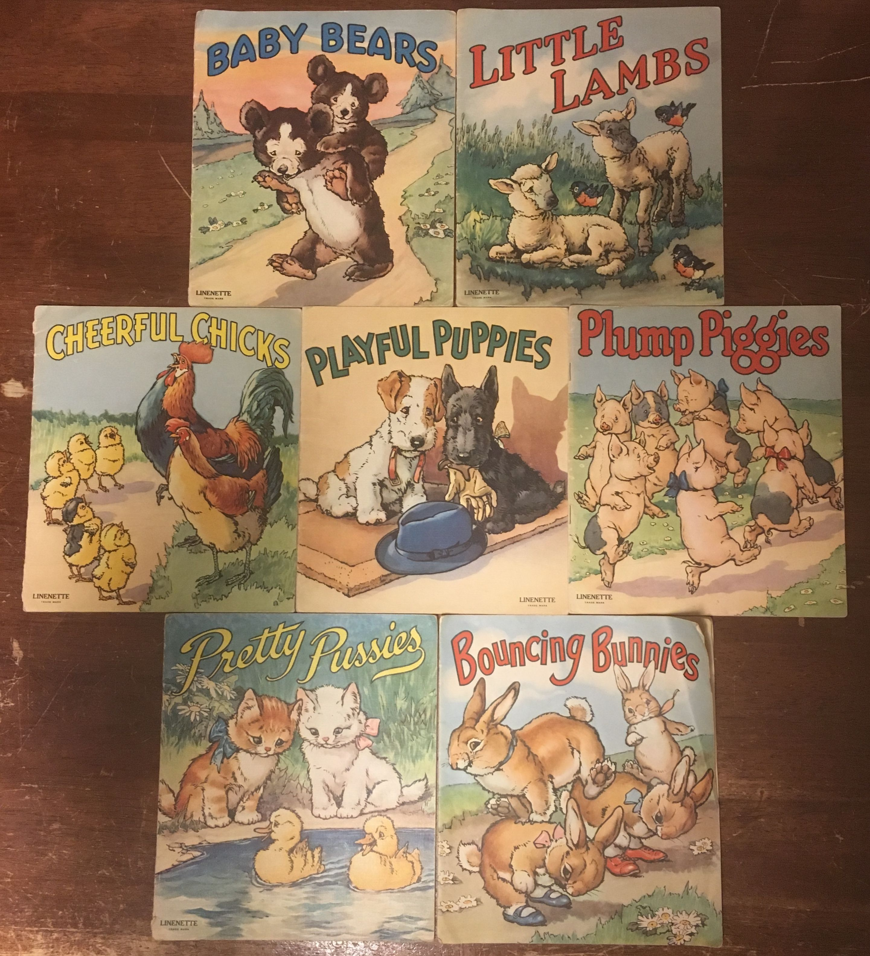 Baby Bears; Little Lambs; Cheerful Chicks; Playful Puppies; Plumb Piggies; Pretty Pussies; Bouncing Bunnies, No Author