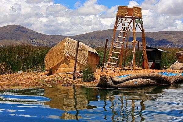 Floating Islands in a Lake (Lake Titicaca/ Peru & Bolivia)