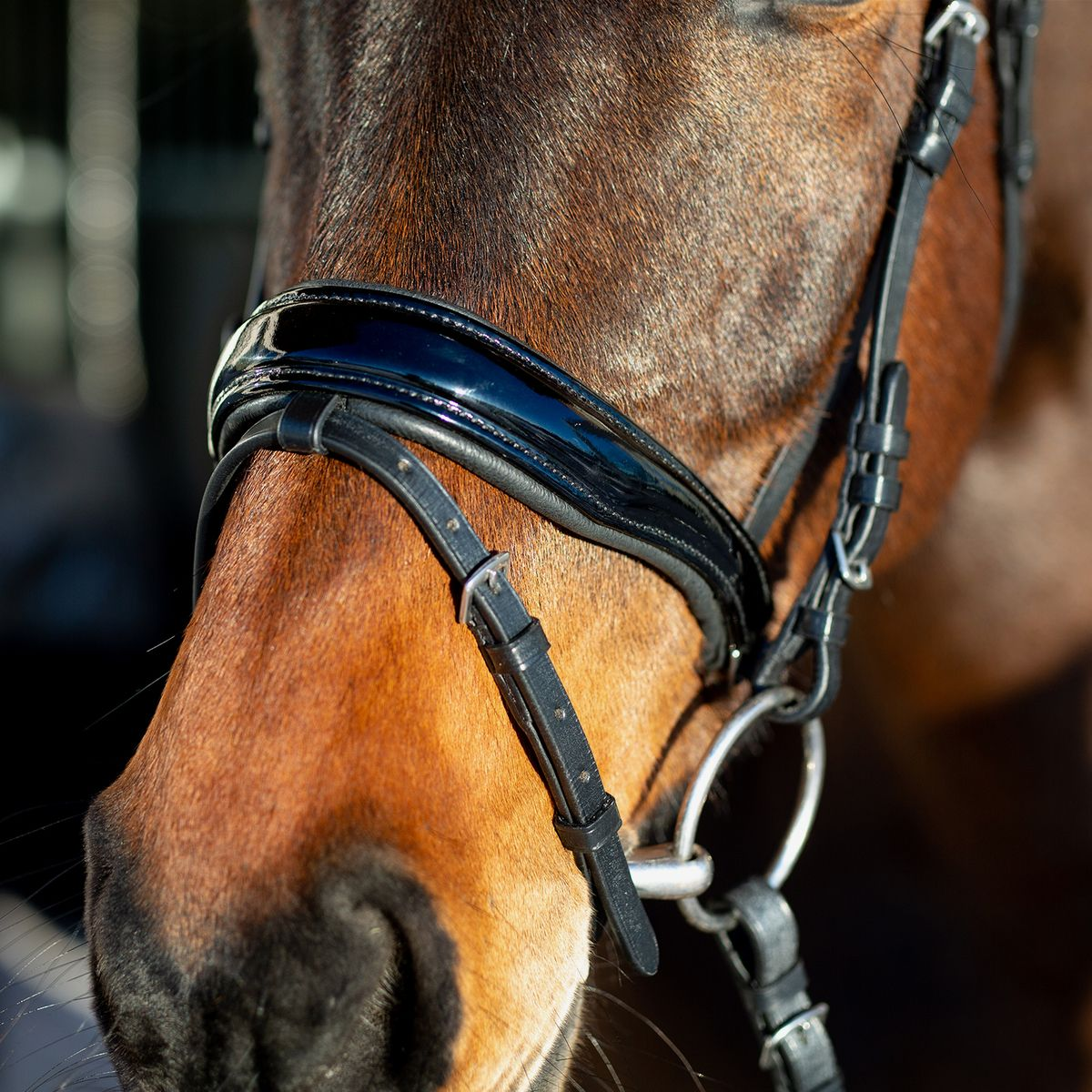 Horze-Rohan-Leather-Curved-Padded-Snaffle-Bridle-with-Rhinestone-Browband miniature 14
