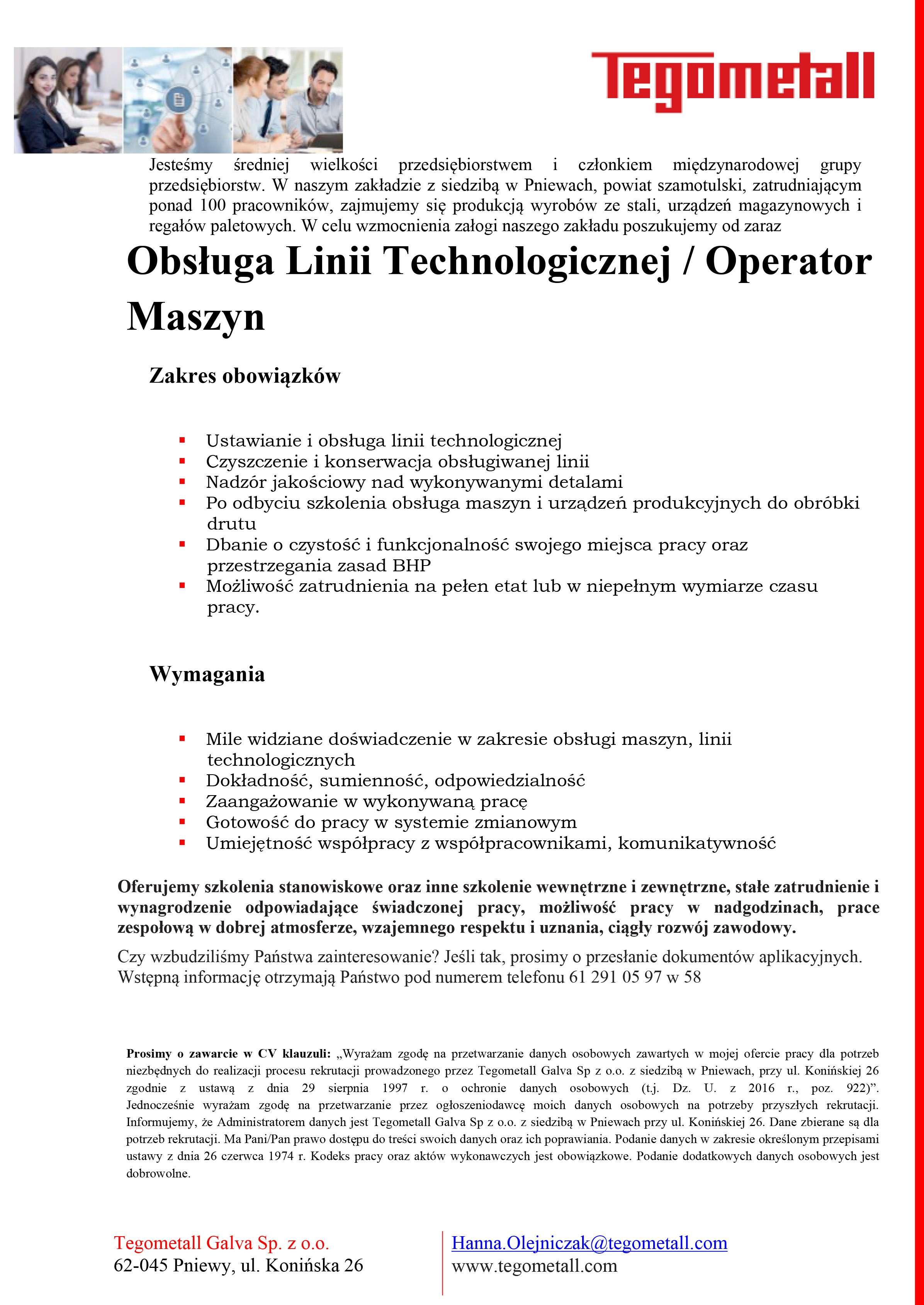 Praca wTegometall – obsługa linii technologicznej / operator maszyn