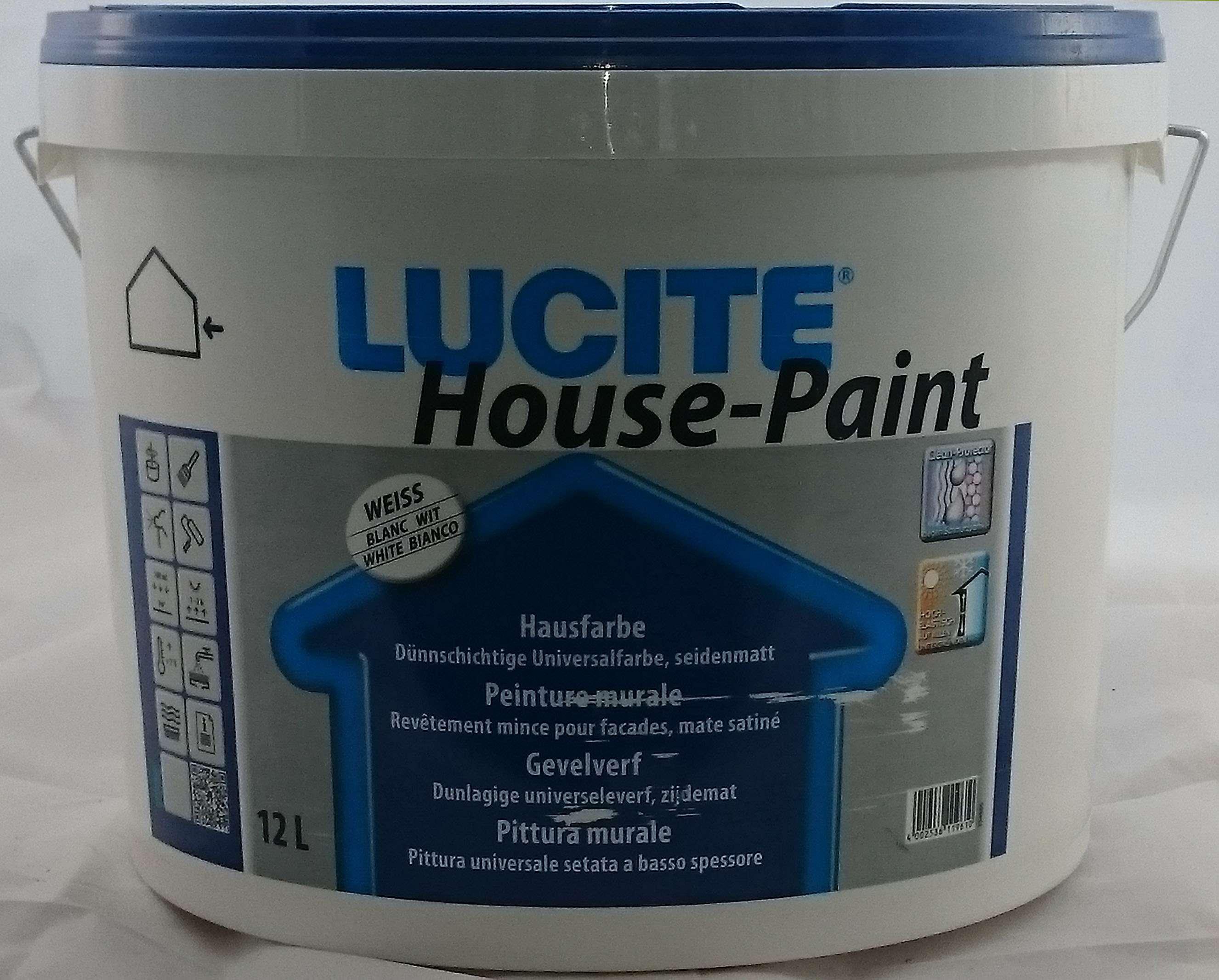 18,08€/L) Lucite House Paint weiss 12L Fassadenfarbe Außenfarbe | eBay