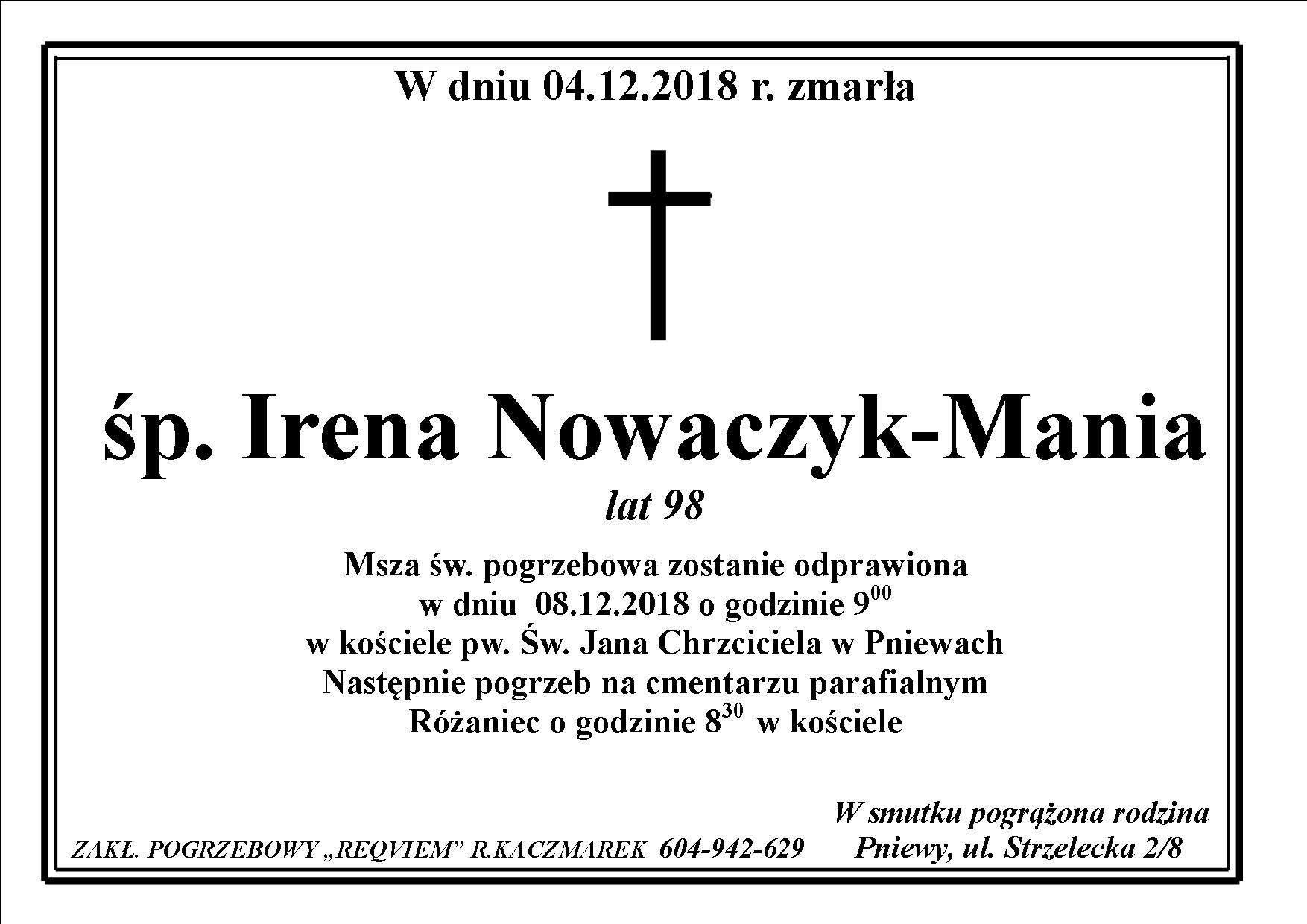 Żyli wśród nas – Irena Nowaczyk-Mania