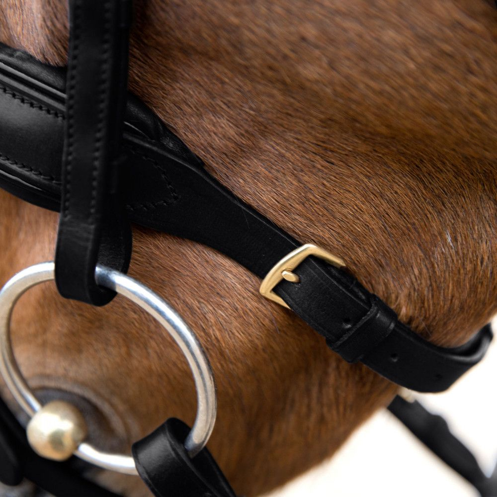 Horze-Crescendo-Lester-Snaffle-Bridle-with-U-Shaped-Browband-and-Anti-Slip-Reins miniature 12
