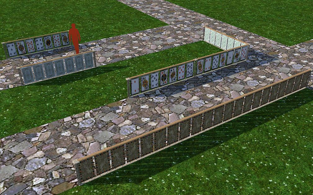 My Adventures In SketchUp: Playing Card Railings - Screenshot Displaying Set Pieces With Path, B, Image 02