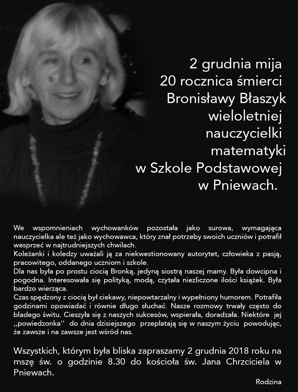 Żyli wśród nas – Bronisława Błaszyk