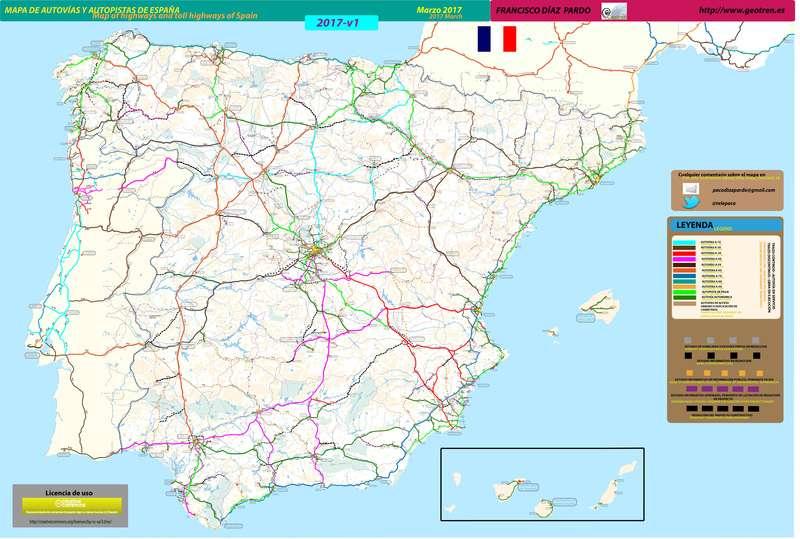Mapa De Autovias Y Autopistas De Espana Actualizado Marzo 2017