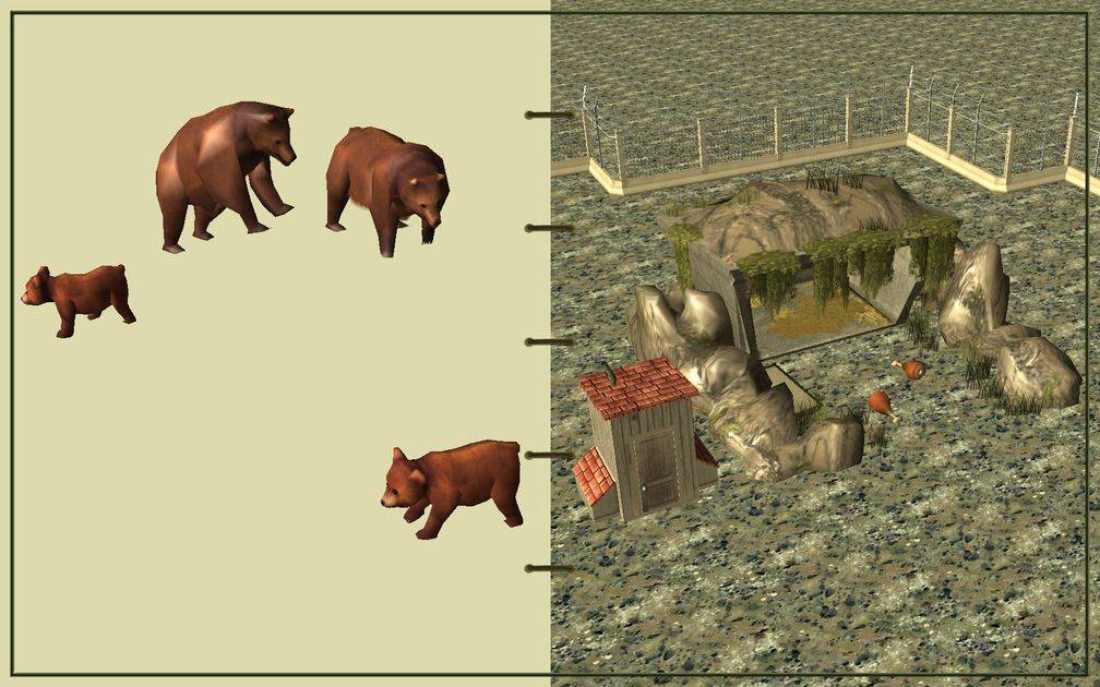 Image 07, RCT3 FAQ, Volitionist's RCT3 Animal Care Guide, Page 2: Grizzly Bears And Carnivore House With Electric Fence