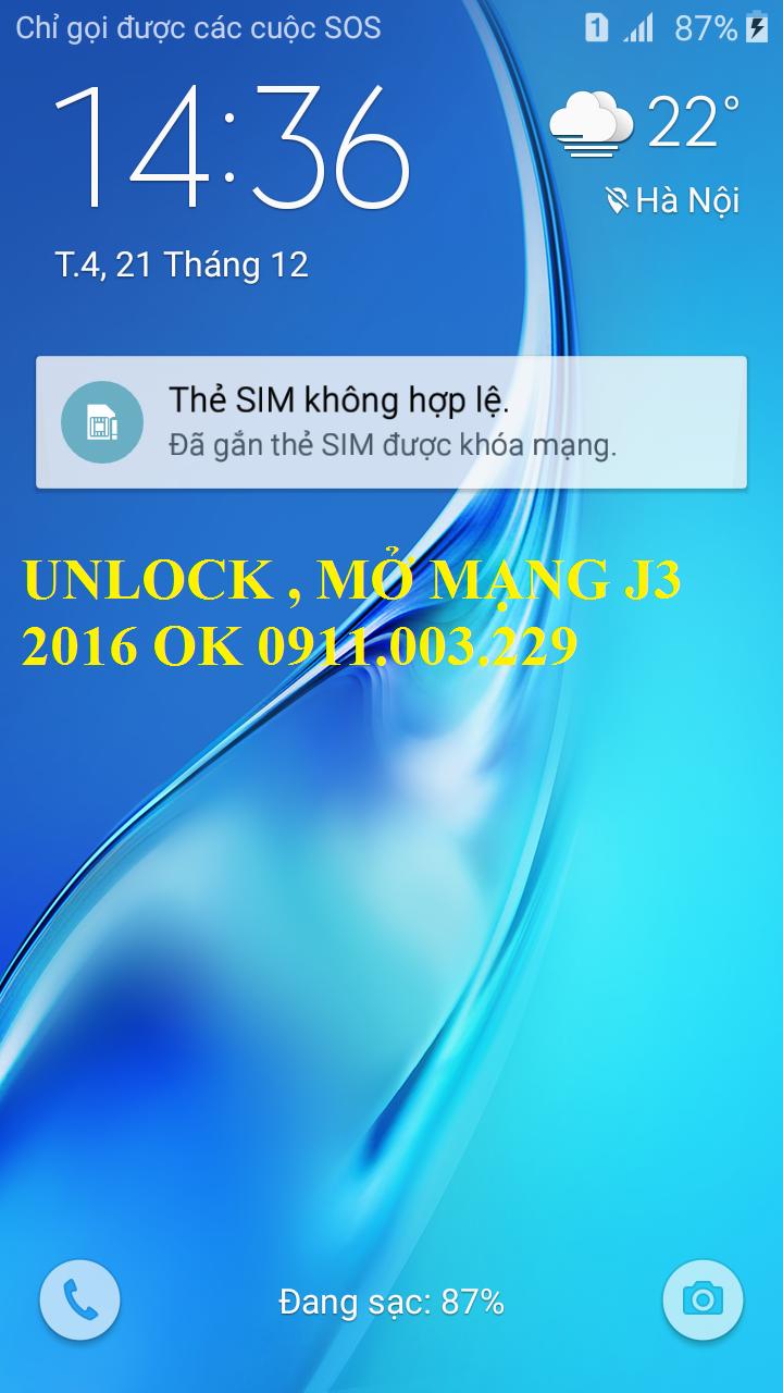 Mở mạng unlock samsung j1, j1 2016, j2, j3, j5, j7 thẻ sim không hợp