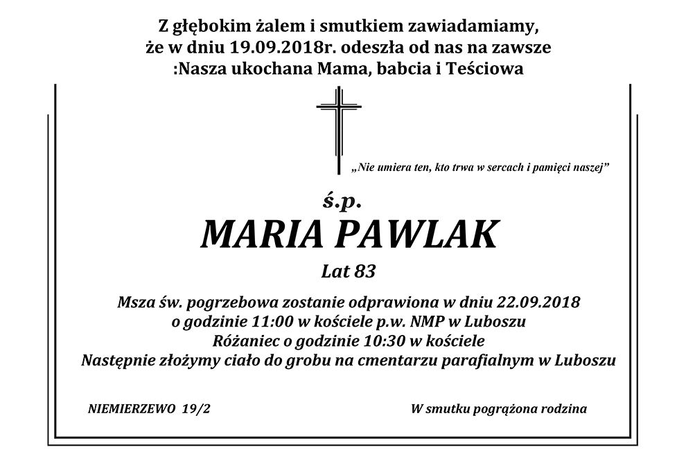 Żyli wśród nas – Maria Pawlak
