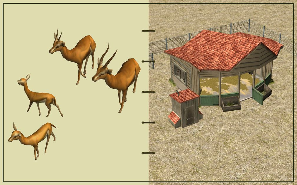 Image 04, RCT3 FAQ, Volitionist's RCT3 Animal Care Guide, Page 2: Gazelles And Small Herbivore House With Chain Fence