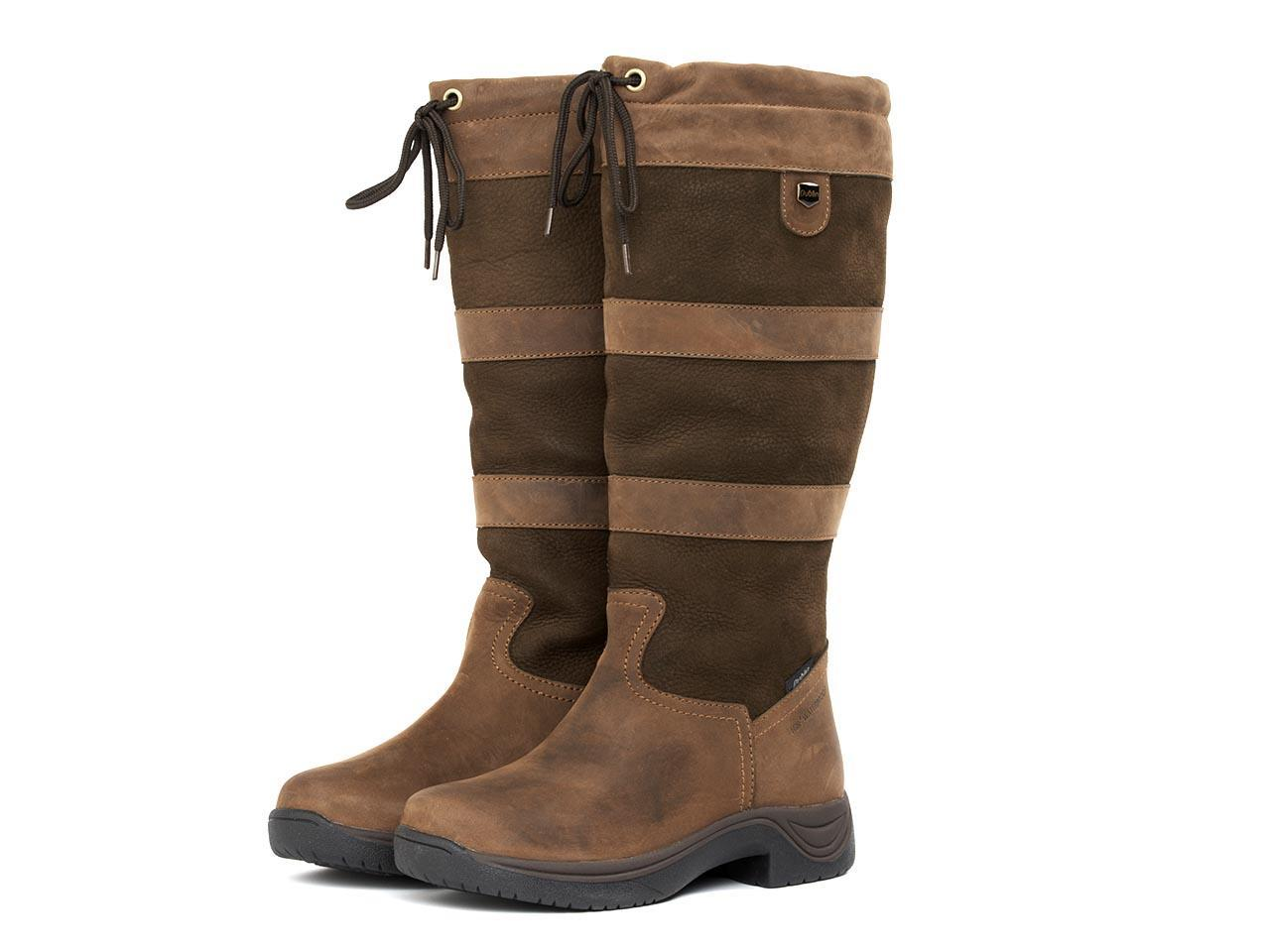 Dublin-River-Plaid-Waterproof-Country-Boots-II-Brown-Ladies-with-Elastic-Gusset