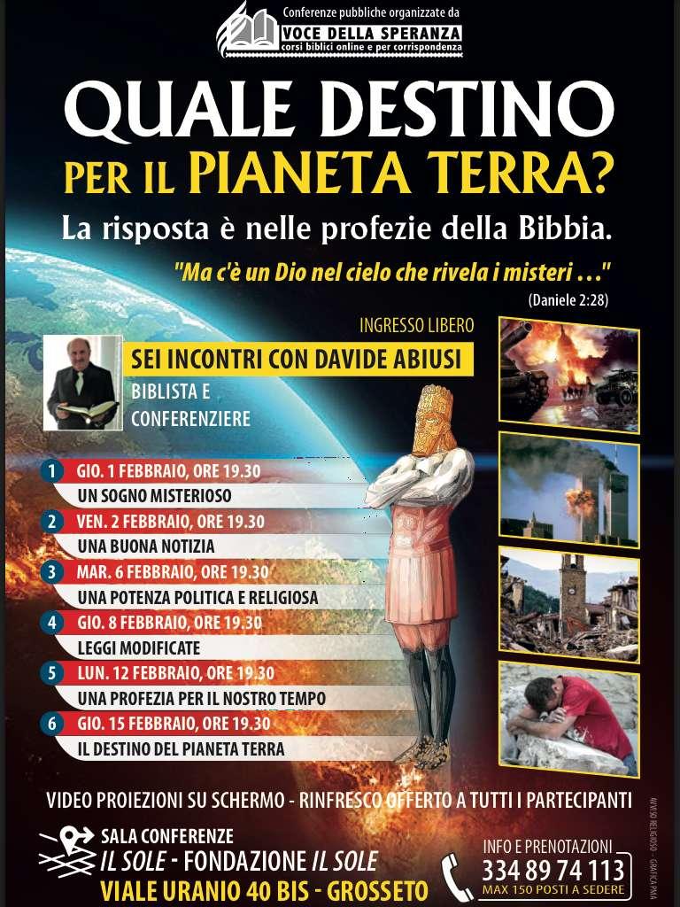 Locandina Conferenze sulle Profezie Bibliche di Febbraio 2018 a Grosseto