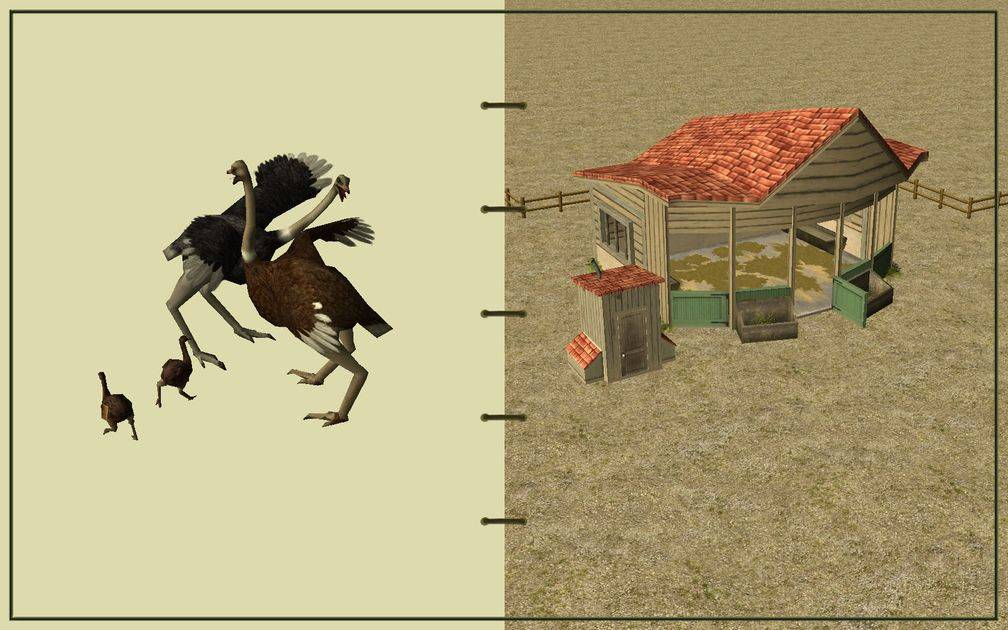 Image 15, RCT3 FAQ, Volitionist's RCT3 Animal Care Guide, Page 3: Ostriches And Small Herbivore House With Wood Fence