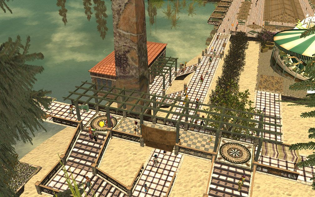 My Projects - CSO's I Have Imported, Pergolas Set - Aerial View From Trees Above Aquarium Towards Midway Boardwalk, Image 10