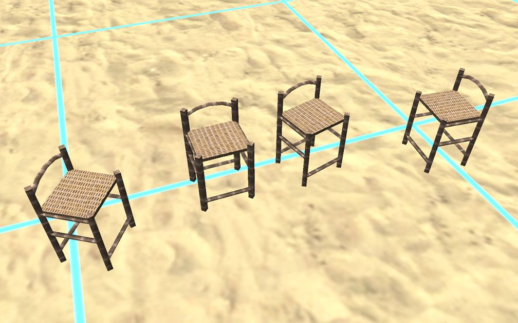 Showcase! Winter 2017 - Mr. Sion's Tiki Bar - Image 08: Four Bar Stools in Different Positions