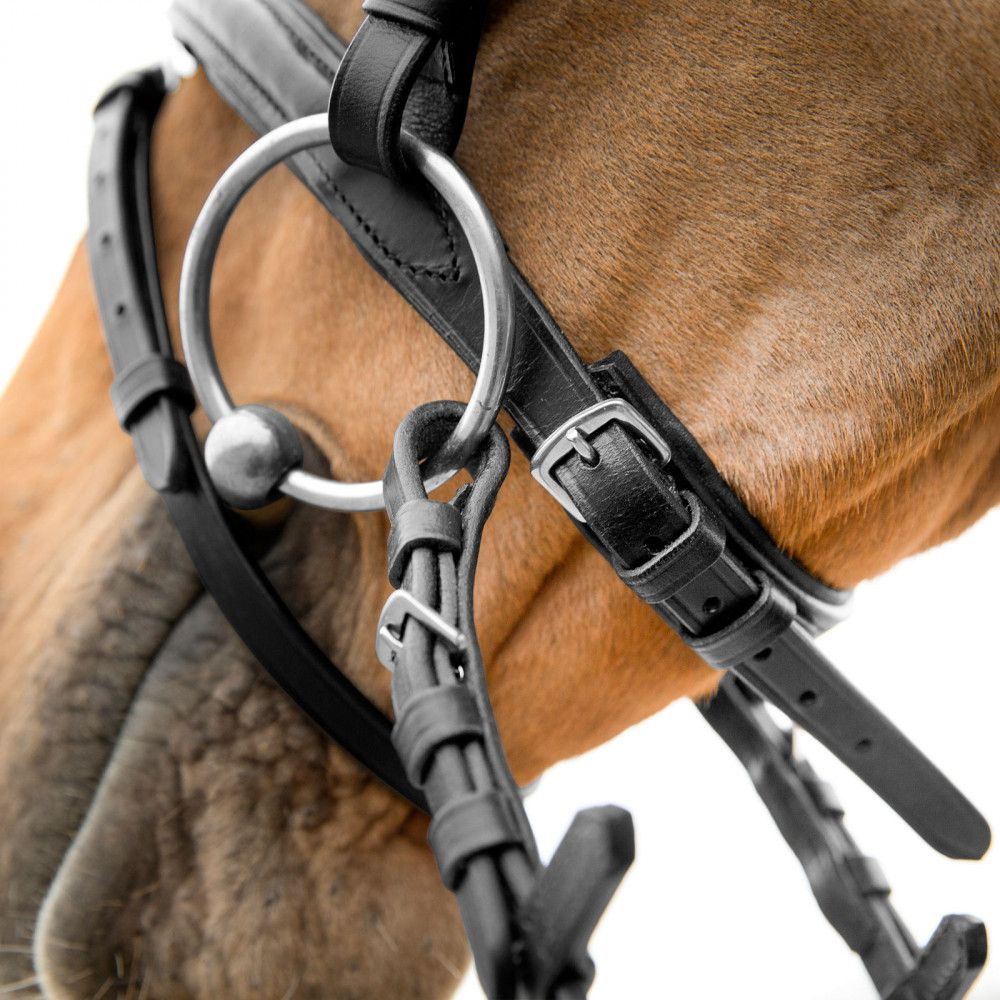Horze-Athena-Leather-Snaffle-Bridle-with-Curved-Browband-and-Detachable-Flash miniature 9