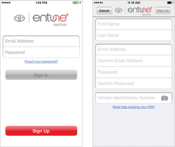 Entune® Sign Up