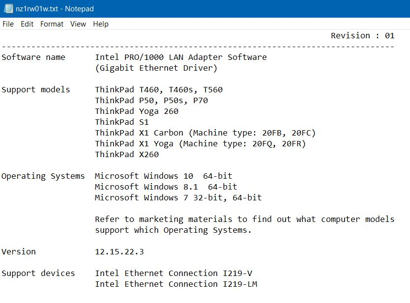 Solved: P70 Win10 Pro/1000 LAN Adapter EXE 12 17 8 7