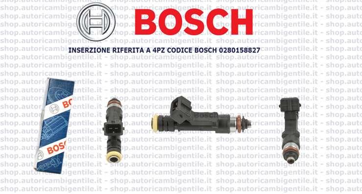 0280158827 INIETTORI BOSCH 4 PZ FIAT MULTIPLA Doblo 1.6 BIPOWER NATURAL POWER.