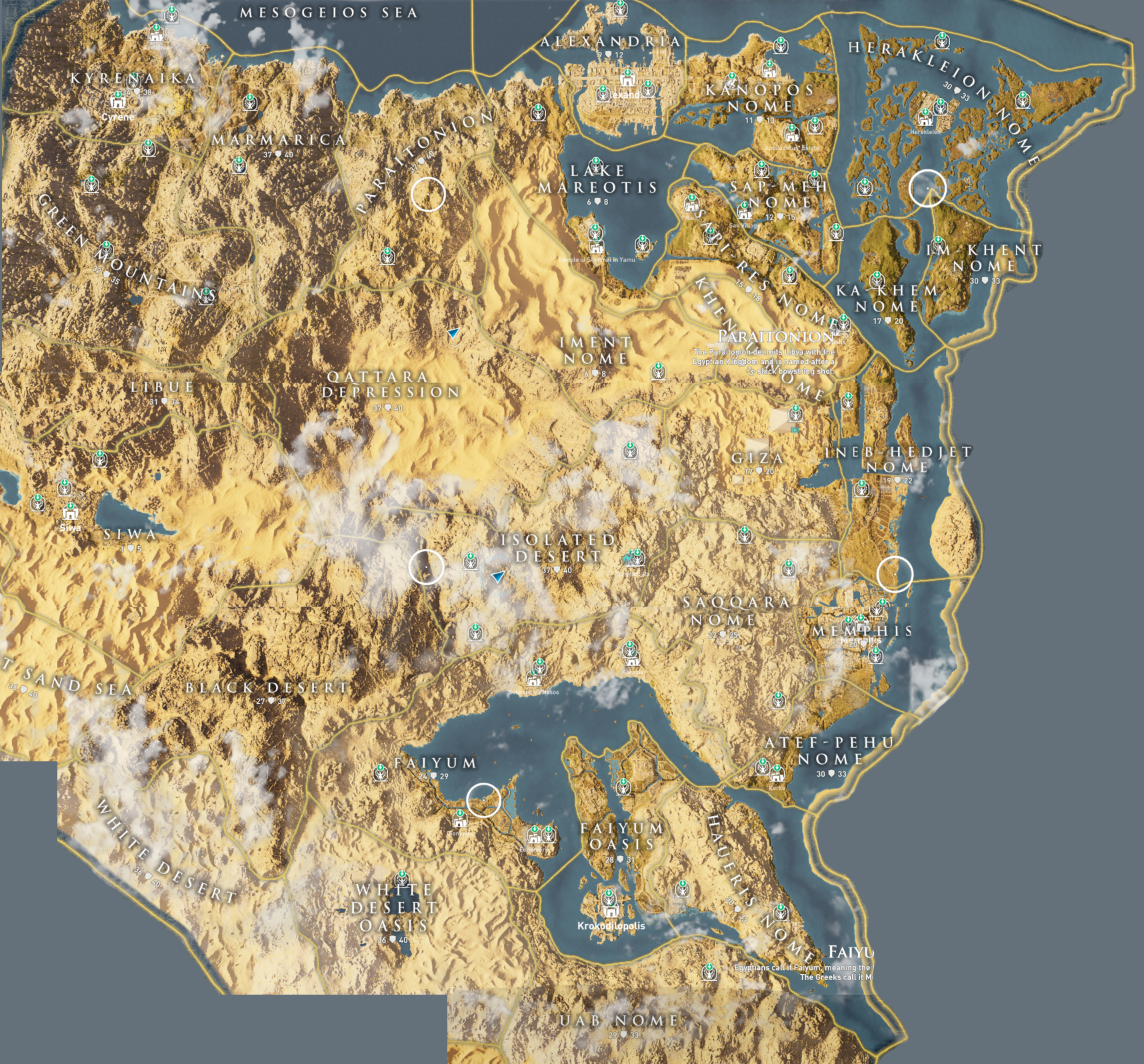All Fast Travel Points Map Assassin S Creed Origins