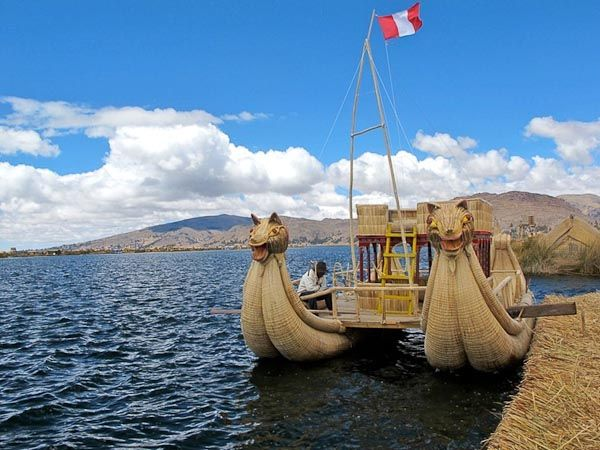 Floating Islands in a Lake (Lake Titicaca/ Peru & Bolivia)