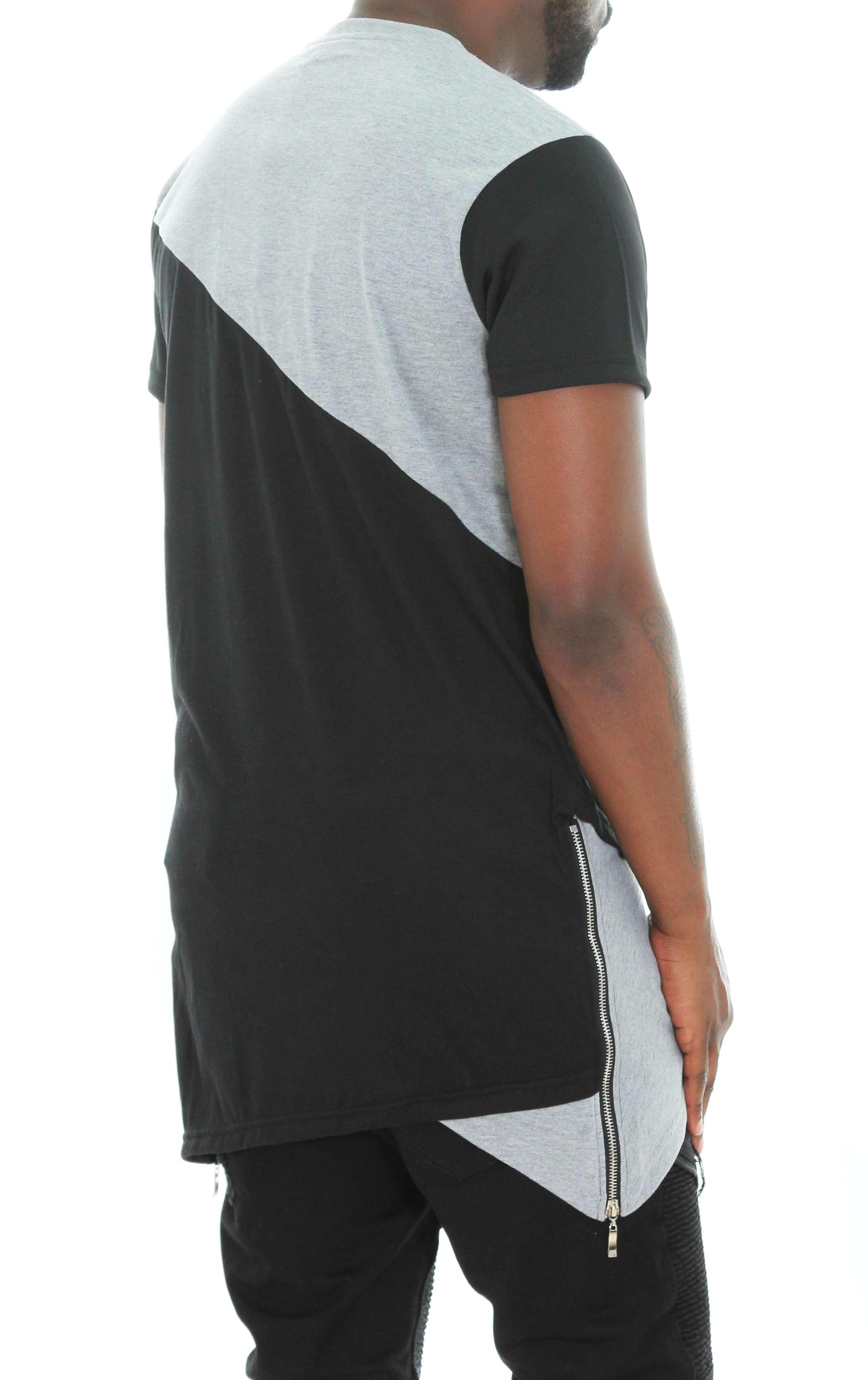 Imperious-Men-039-s-Colorblock-Asymmetric-Hem-Side-Zipper-Longline-T-Shirt thumbnail 6