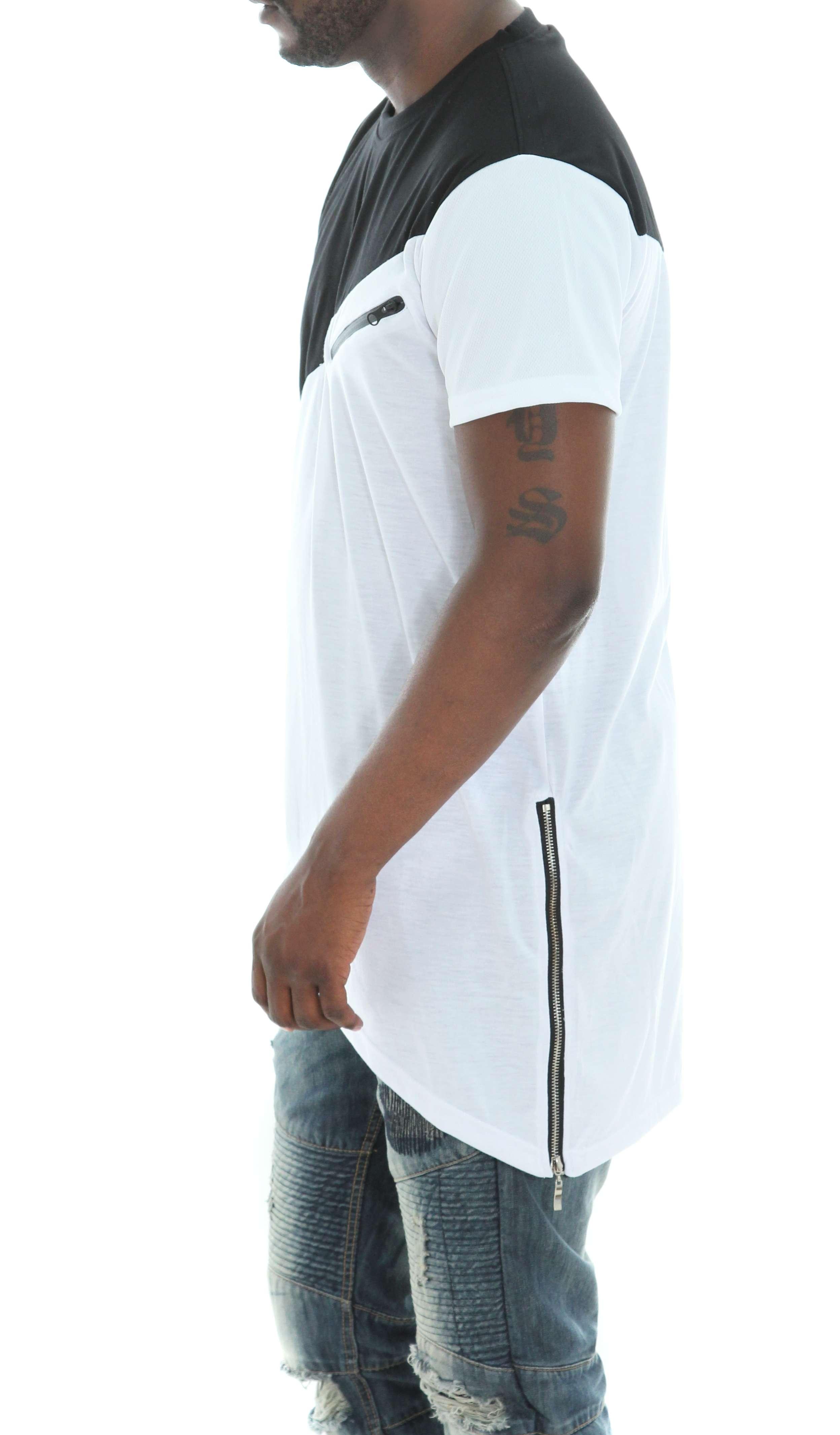 Imperious-Men-039-s-Colorblock-Asymmetric-Hem-Side-Zipper-Longline-T-Shirt thumbnail 14