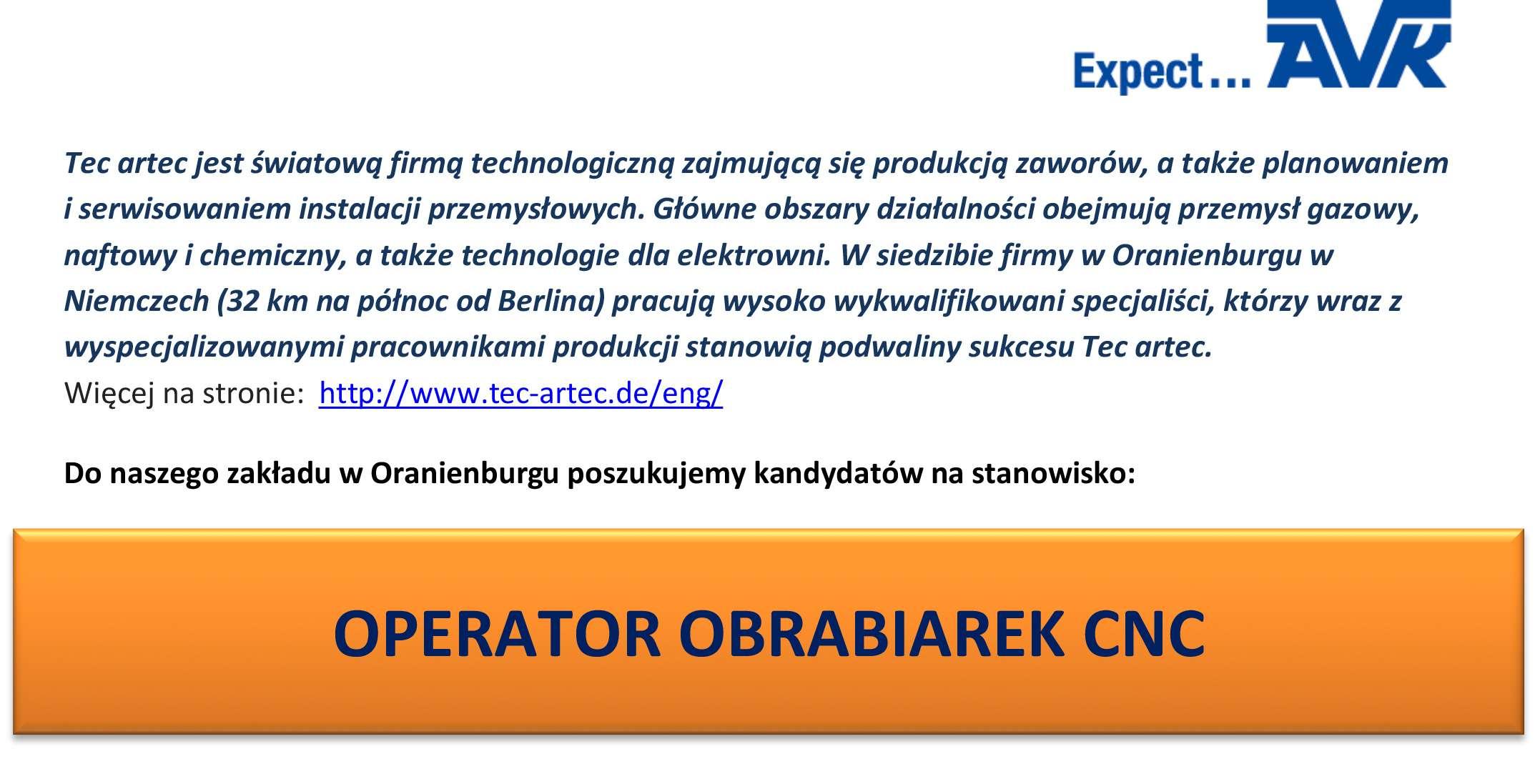 Praca dla operatora obrabiarek CNC